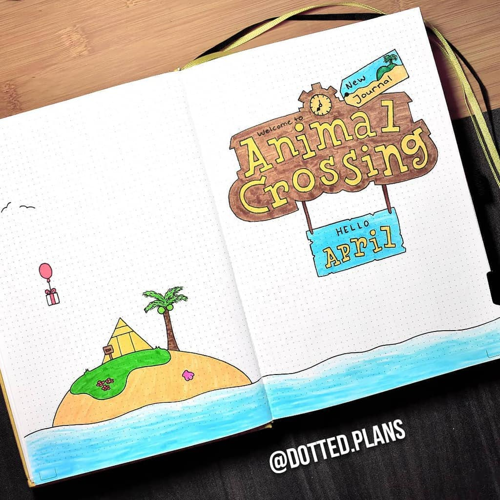 Animal Crossing Bullet Journal Inspirations - cover page by @dotted.plans | Masha Plans