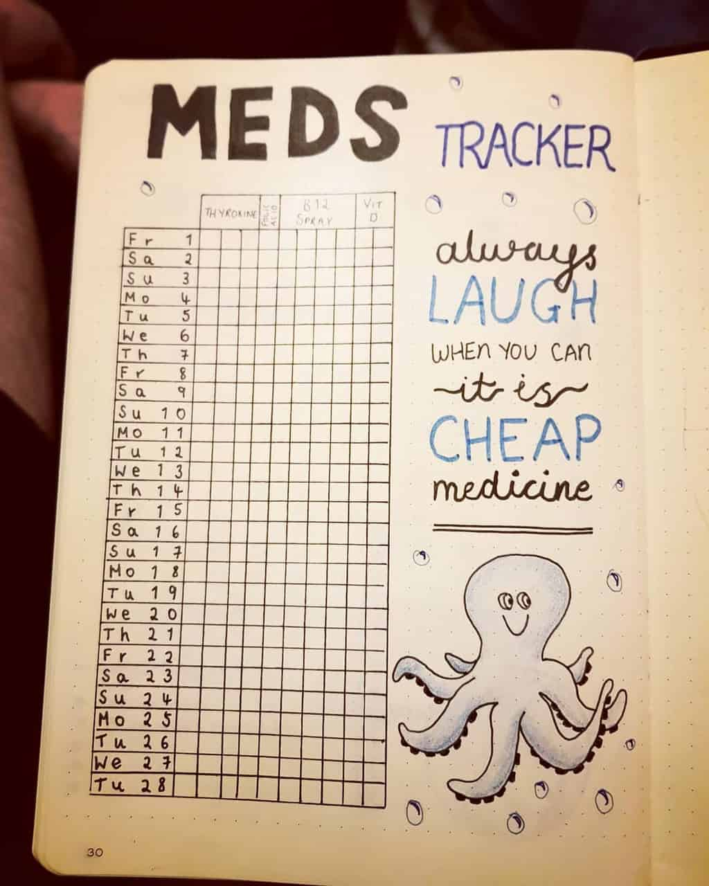 Bullet Journal For Mental Health - medicine tracker by @handmade_creations_by_selina | Masha Plans