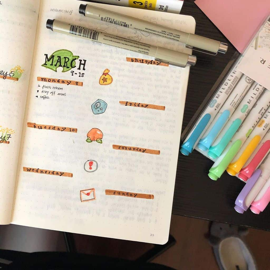 Animal Crossing Bullet Journal Inspirations - weekly log by @illust5ratedbycoffee | Masha Plans