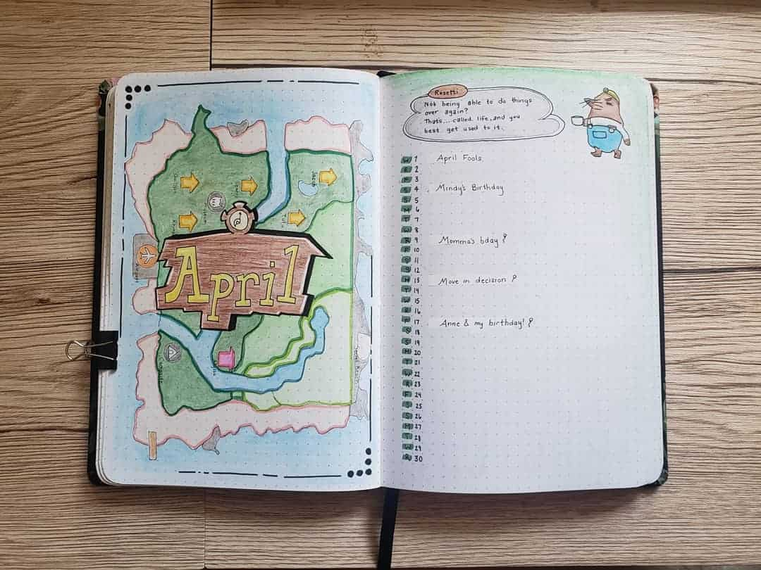 Animal Crossing Bullet Journal Inspirations - monthly log by @isang.pangarap | Masha Plans
