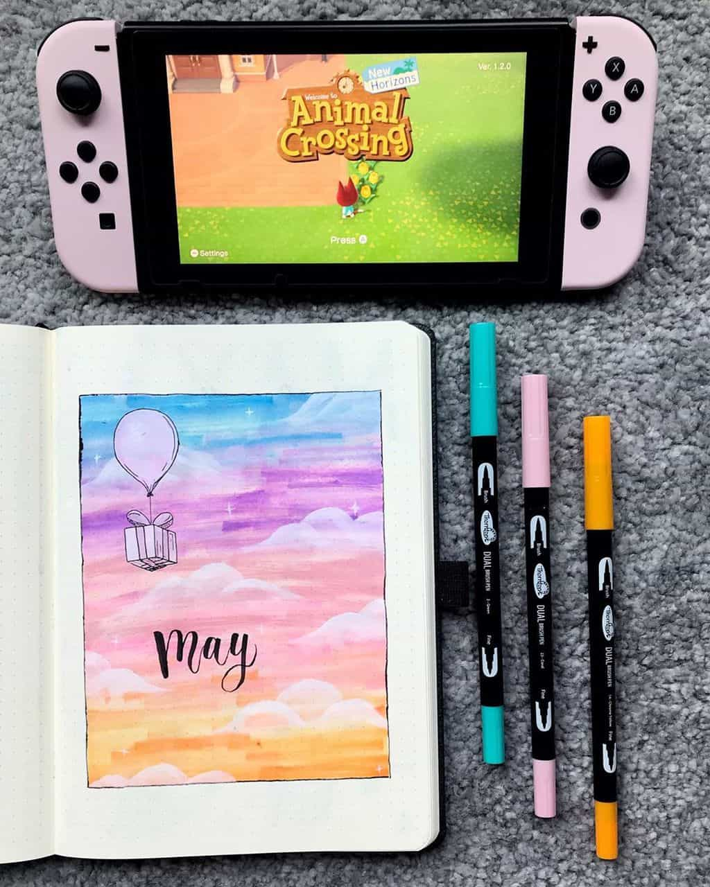 Animal Crossing Bullet Journal Inspirations - cover page by @linesbylagace | Masha Plans