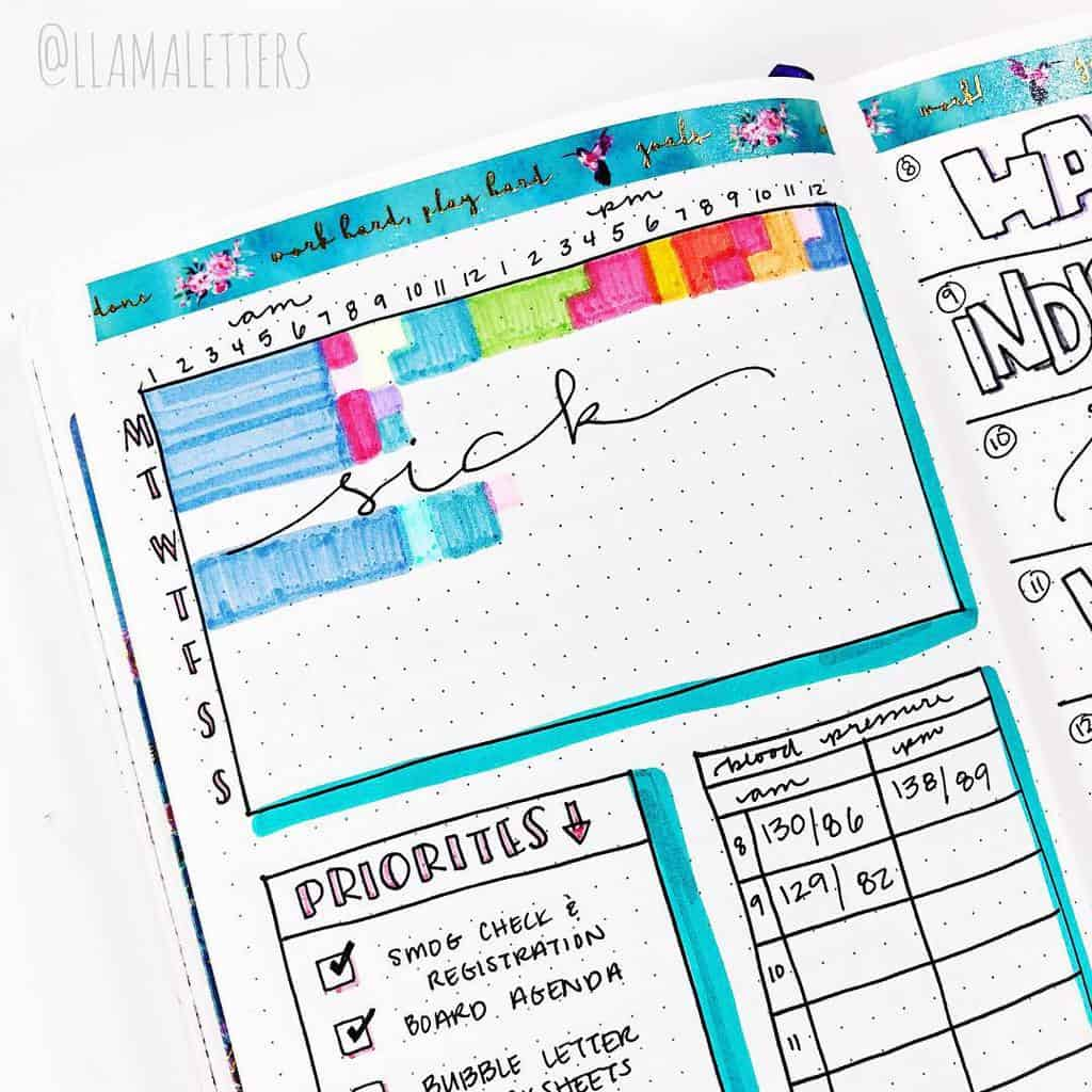 Find Extra Hours In Your Day With A Time Log, spread by @llamaletters | Masha Plans