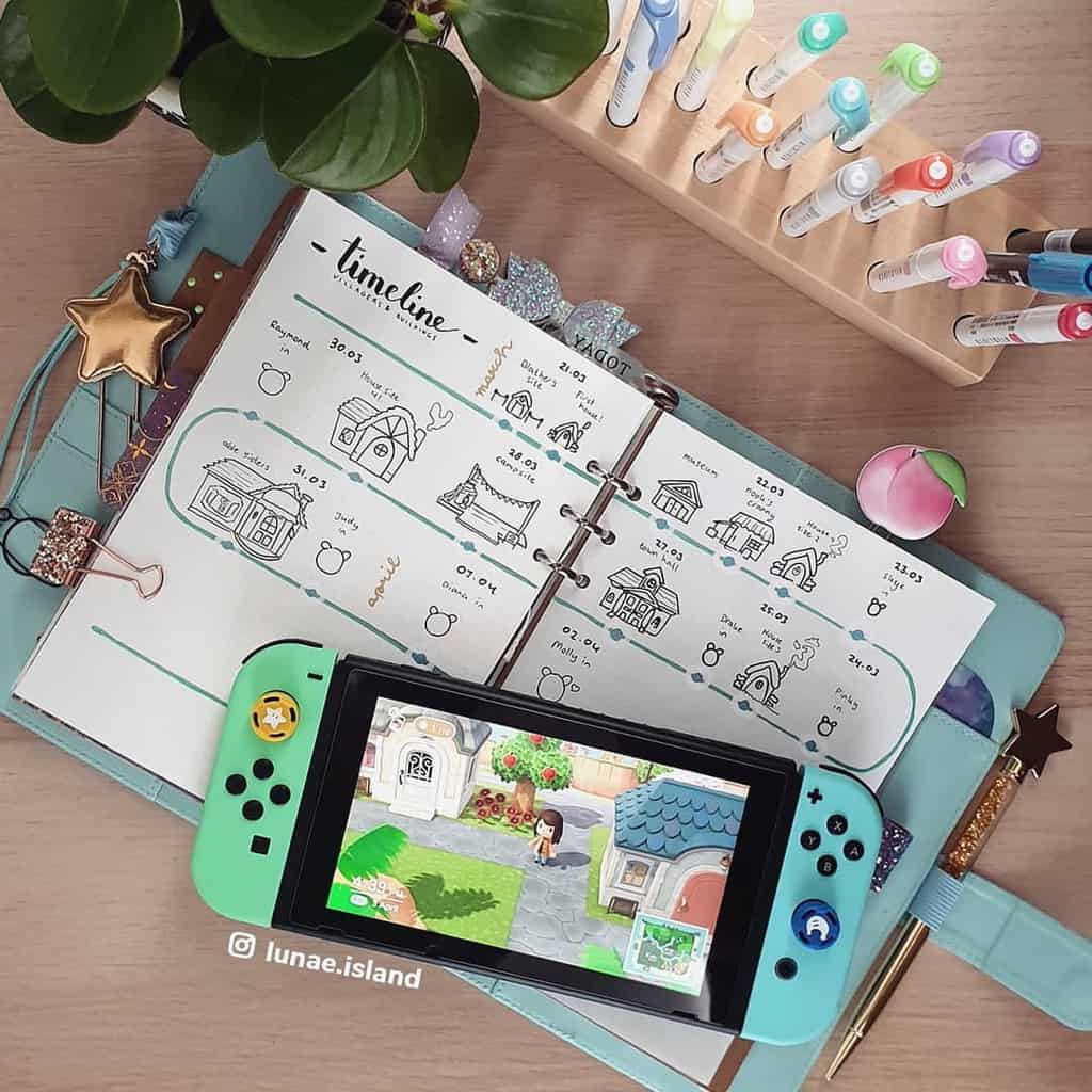 Animal Crossing Bullet Journal Inspiration - spread by @lunae.island | Masha Plans