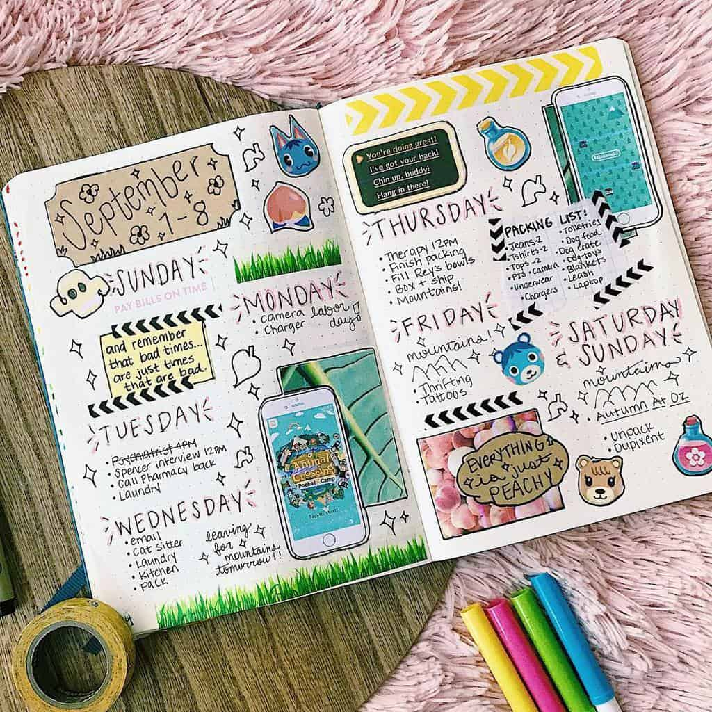 Animal Crossing Bullet Journal Inspirations - weekly spread by @madipeach | Masha Plans