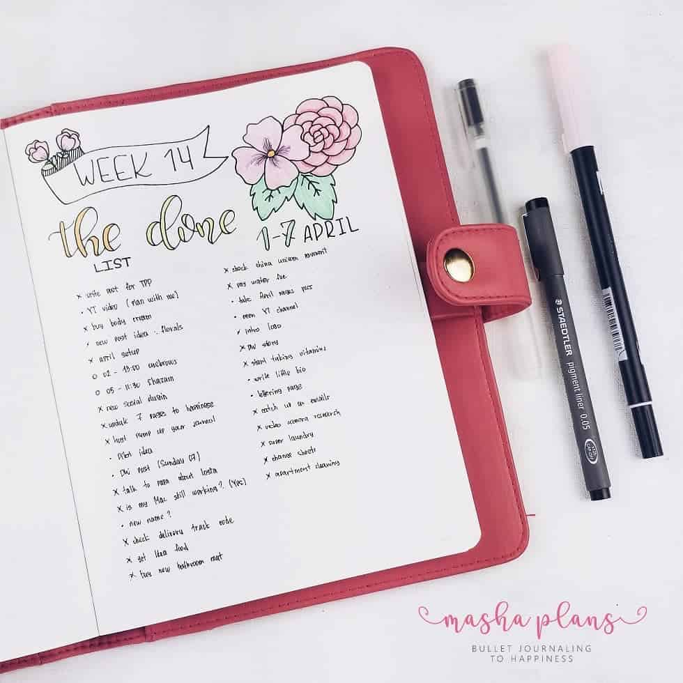 Bullet Journal For Mental Health - the done list | Masha Plans