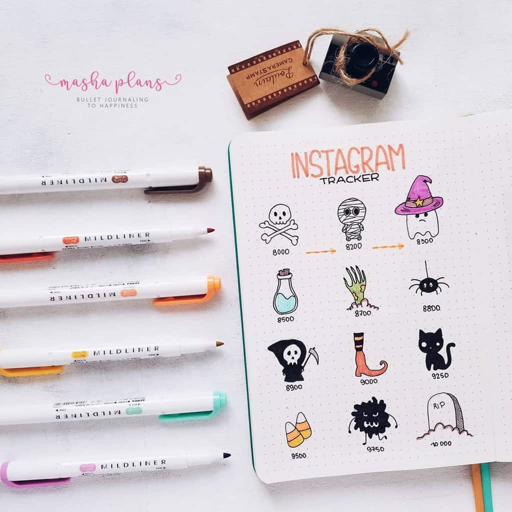 Monthly Bullet Journal Page Ideas, instagram tracker | Masha Plans