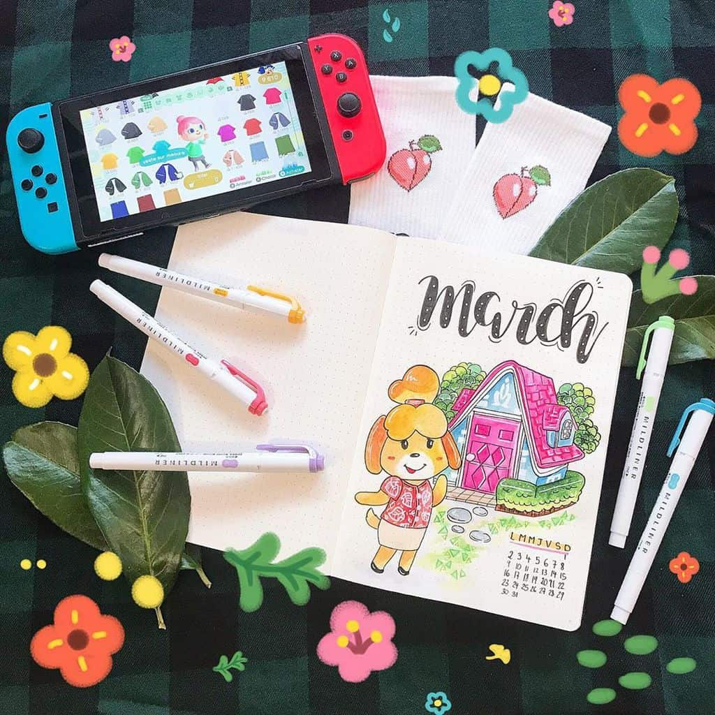 Animal Crossing Bullet Journal Inspirations - cover page by @meduseaplumes | Masha Plans