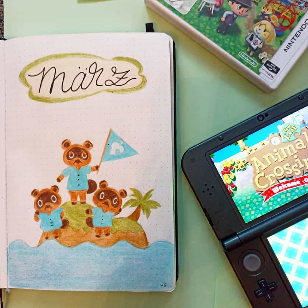 Animal Crossing Bullet Journal Inspirations - cover page by @missrocky99 | Masha Plans
