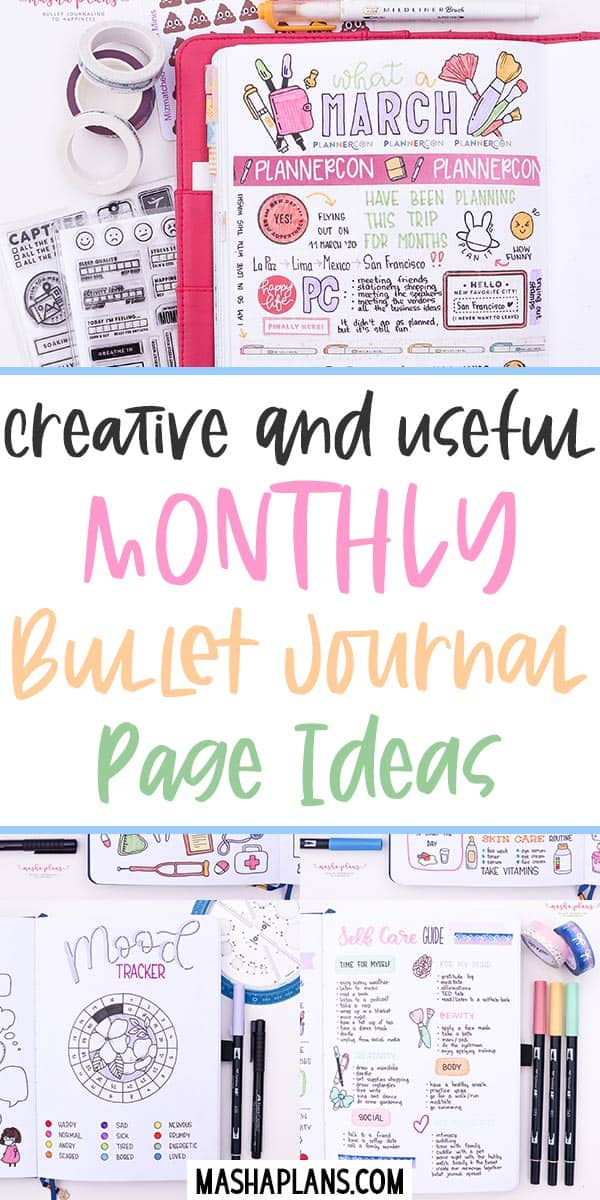 25 Creative and Useful Monthly Bullet Journal Page Ideas | Masha Plans