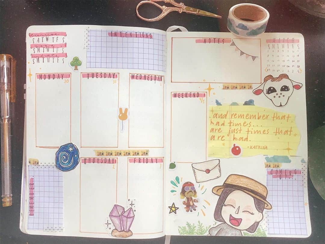 Animal Crossing Bullet Journal Inspirartions - weekly spread by @opalclouds | Masha Plans