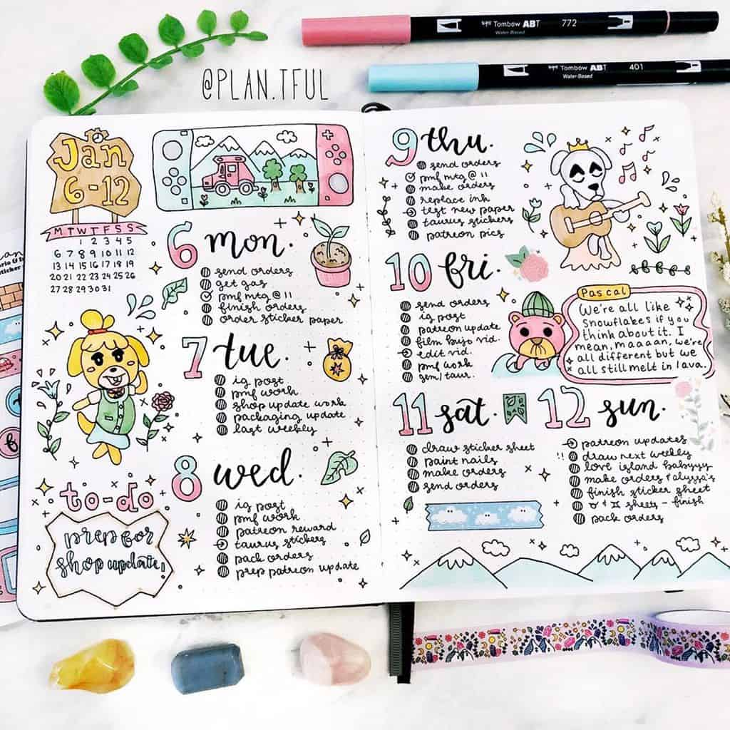 Animal Crossing Bullet Journal Inspirations - weekly spread by @plan.tful | Masha Plans