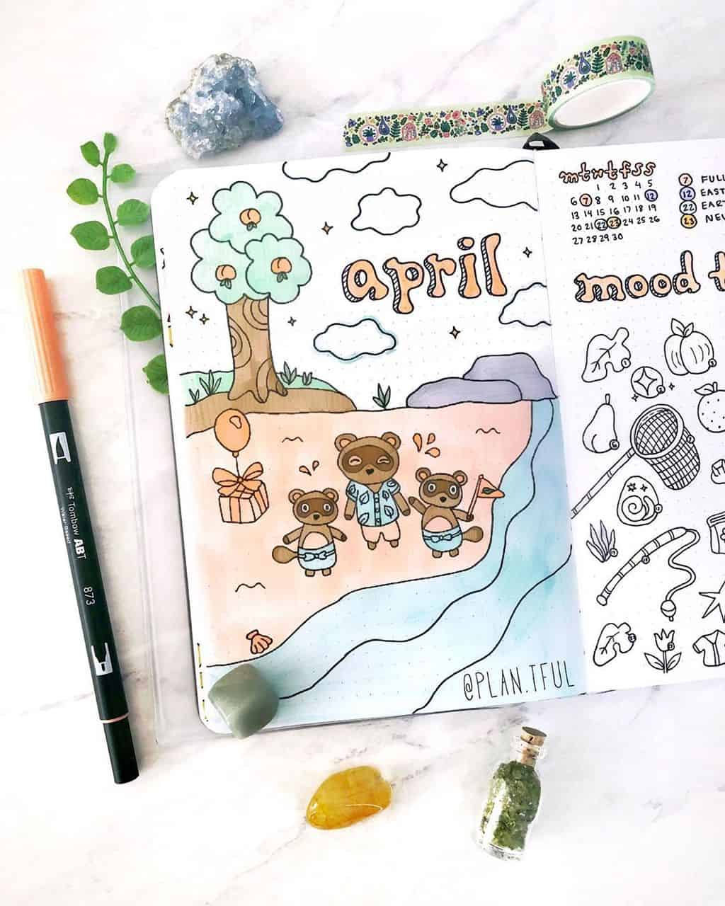 Animal Crossing Bullet Journal Inspirations - cover page by @plan.tful | Masha Plans