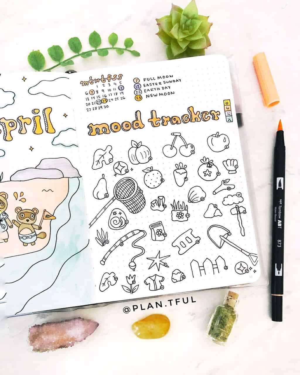 Animal Crossing Bullet Journal Inspirations - mood tracker by @plan.tful | Masha Plans