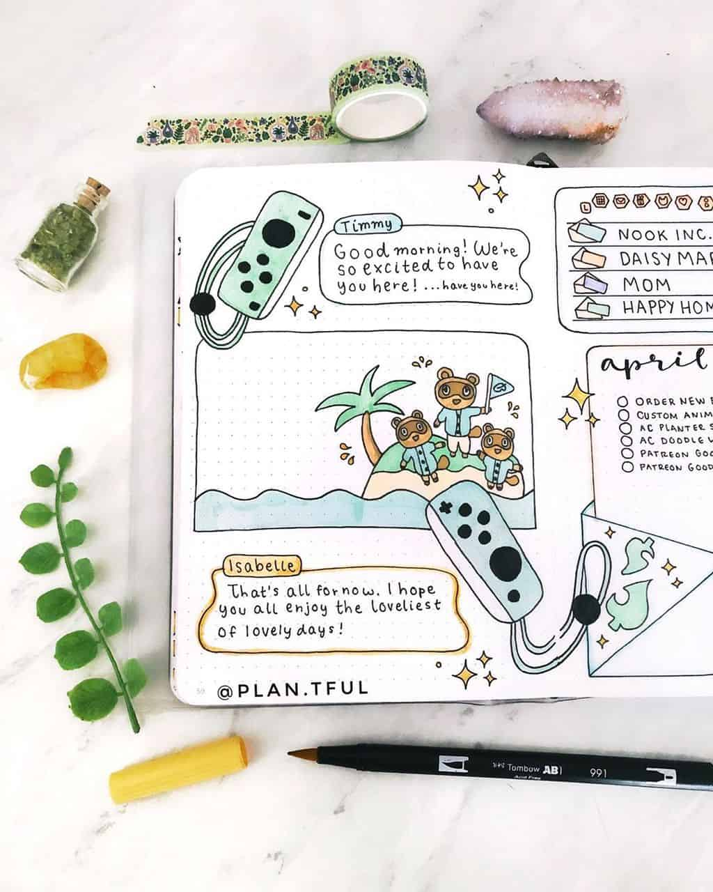 Animal Crossing Bullet Journal Inspirations - spread by @plan.tful | Masha Plans