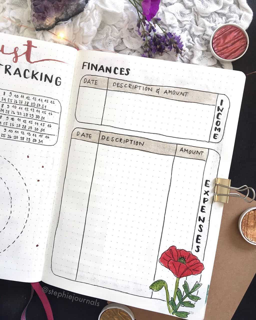 Monthly Bullet Journal Page Ideas, finances tracker by @stephiejournals | Masha Plans