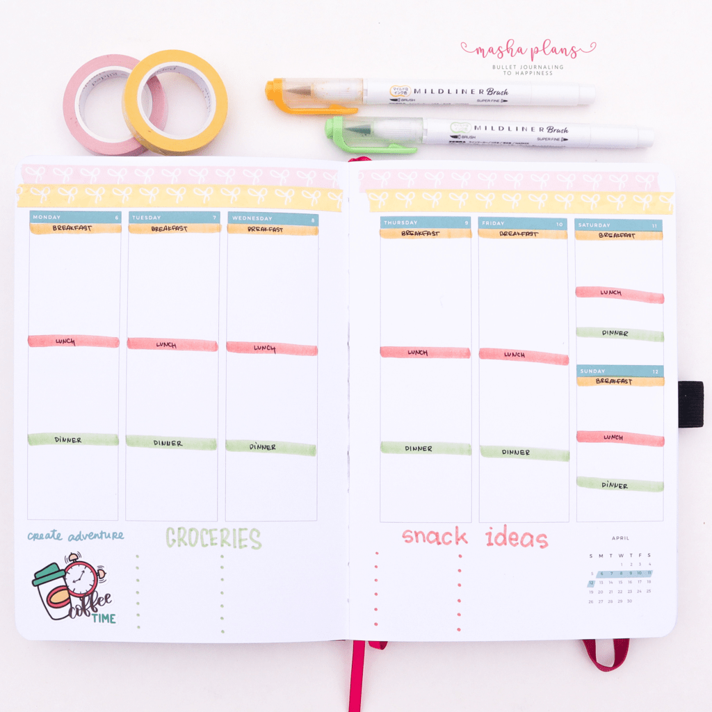 Meal Planner in Archer and Olive and Amy Tangerine Planner | Masha Plans