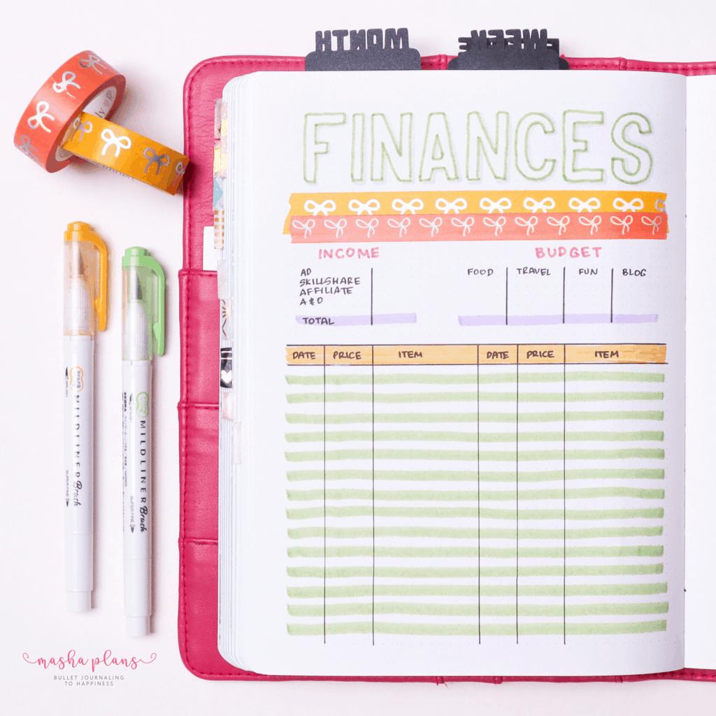 Plan With Me: June Bullet Journal Setup - financial tracker | Masha Plans