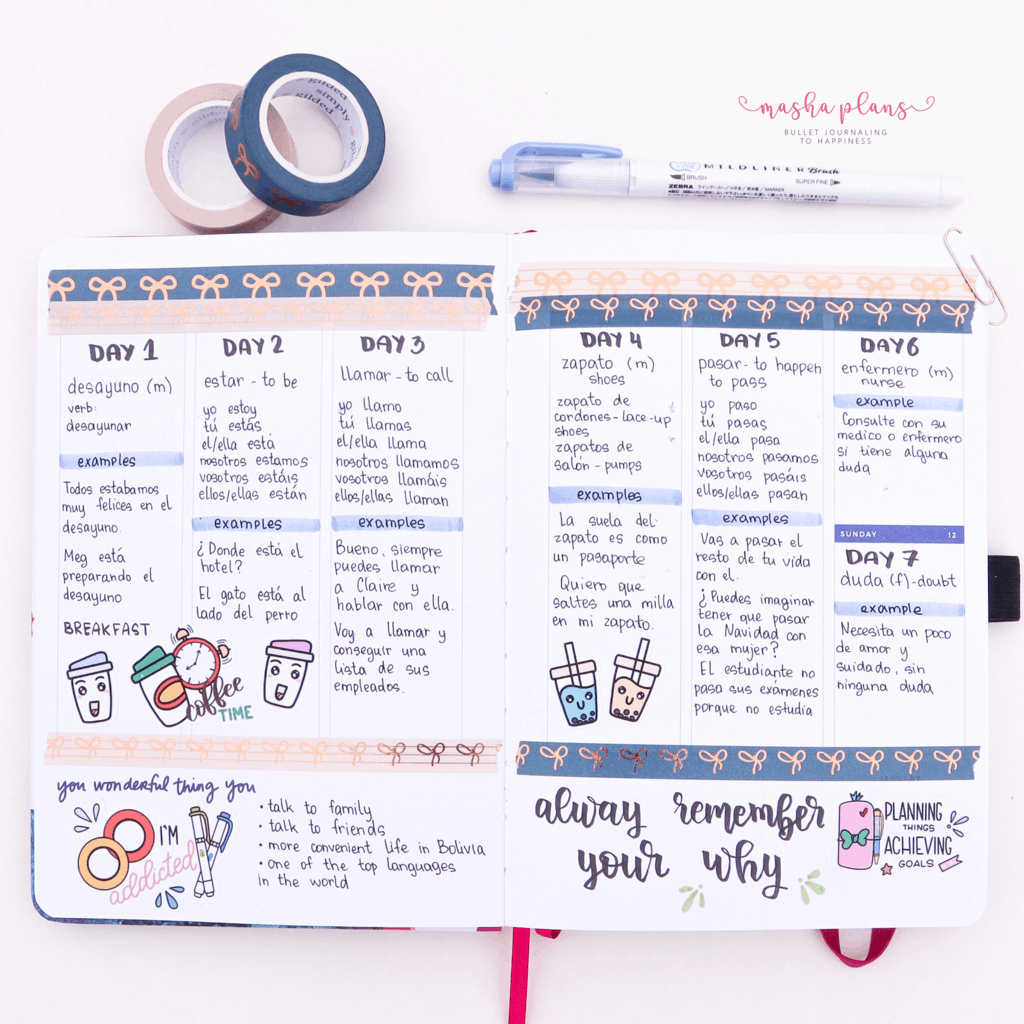 Language Learning Page in Archer and Olive and Amy Tangerine Planner | Masha Plans