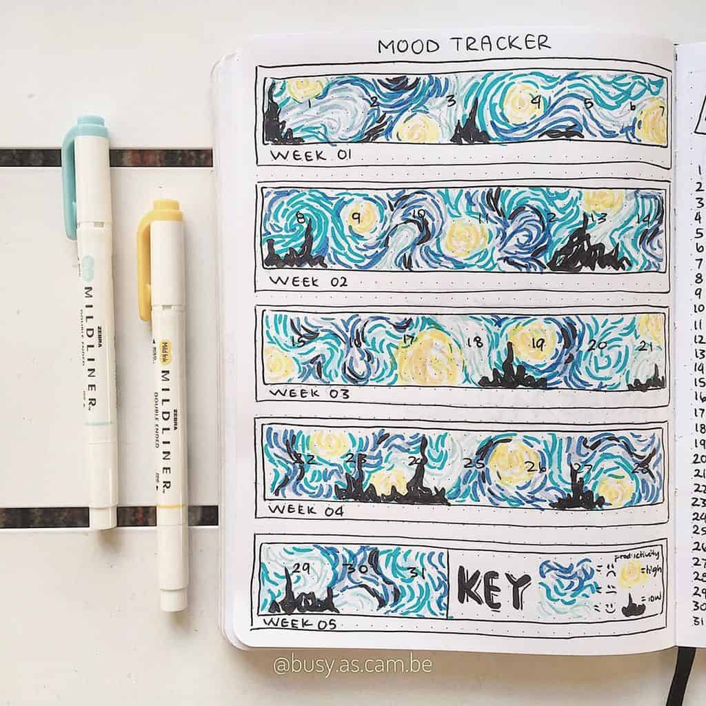 Bullet Journal Mood Tracker by @busy.as.cam.be | Masha Plans