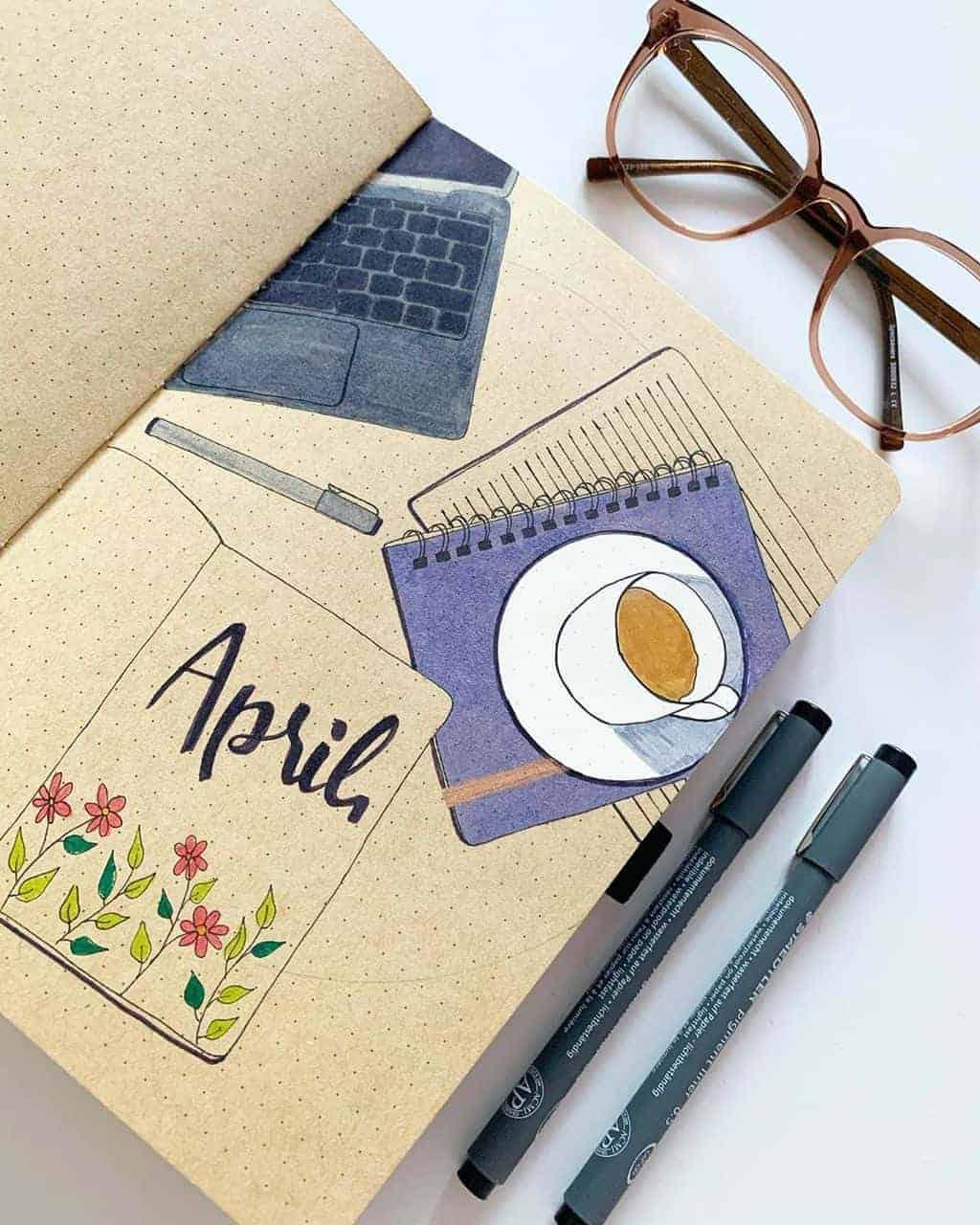 Kraft Paper Journal s[pread by @h_e_doodles | Masha Plans
