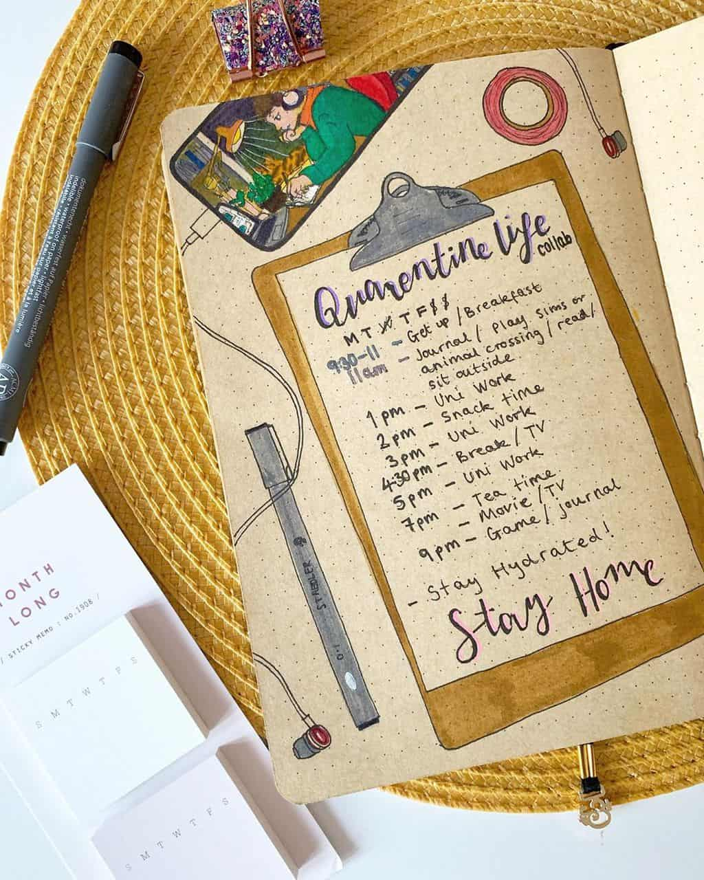 Kraft Paper Journal Spread by @h_e_doodles | Masha Plans