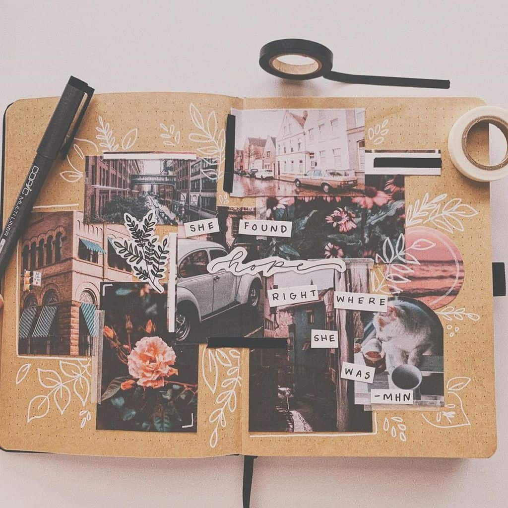 Kraft Paper Journal Spread by @journalingkt | Masha Plans