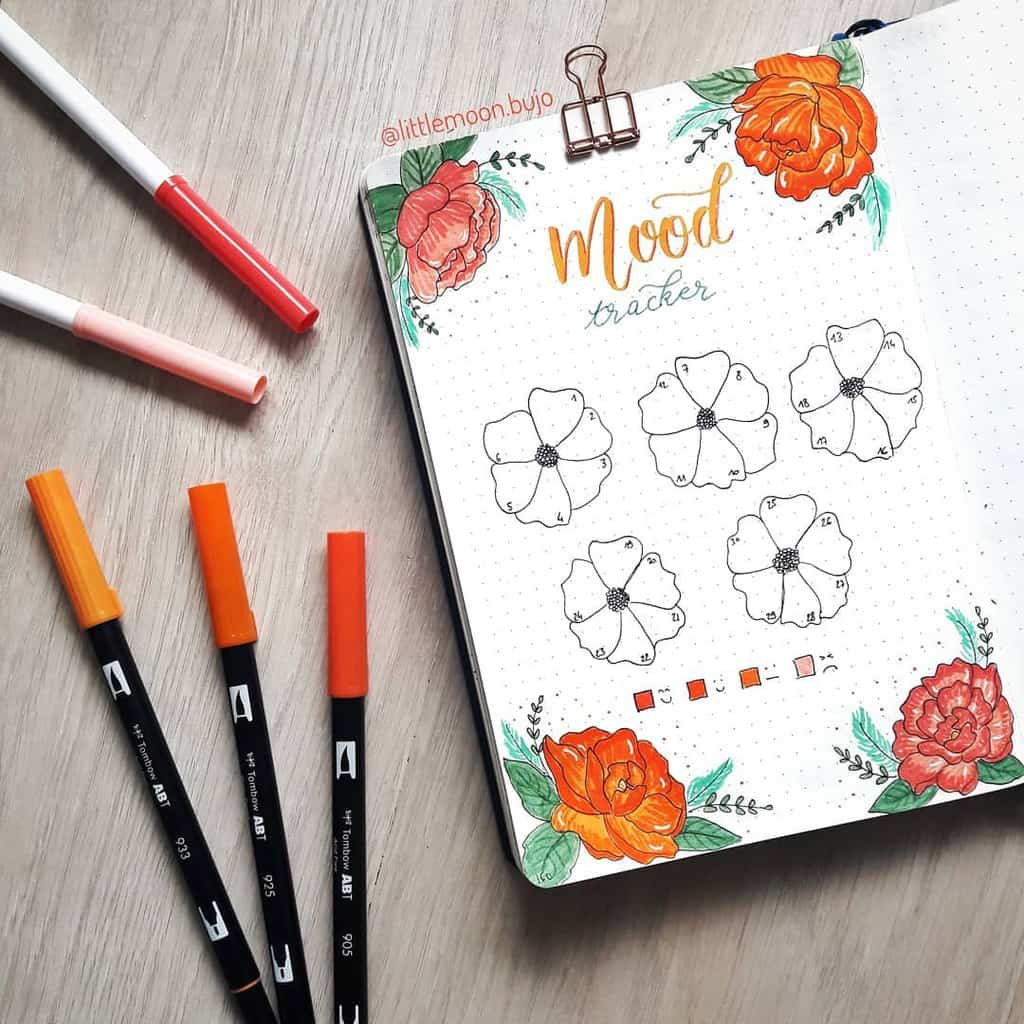 Bullet Journal Mood Tracker by @littlemoon.bujo | Masha Plans