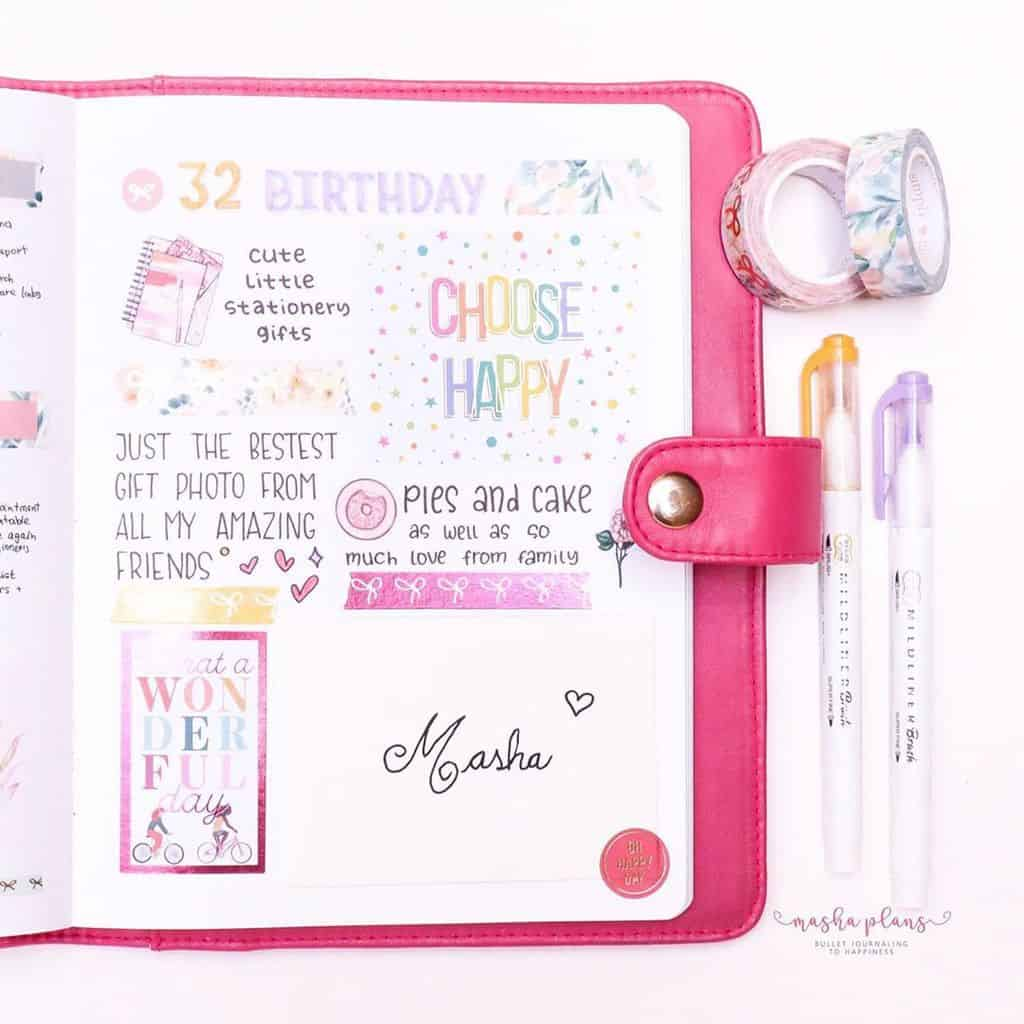 Plan With Me: June Bullet Journal Setup - birthday page | Masha Plans