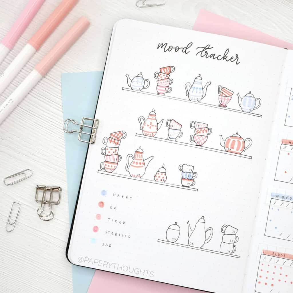 Bullet Journal Mood Tracker by @paperythoughts | Masha Plans