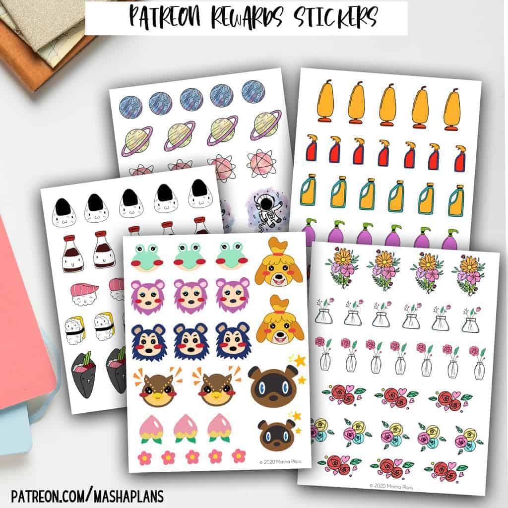 Patreon Rewards - Printable Stickers | Masha Plans