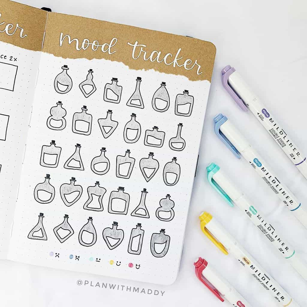 Bullet Journal Mood Tracker by @planwithmaddy | Masha Plans
