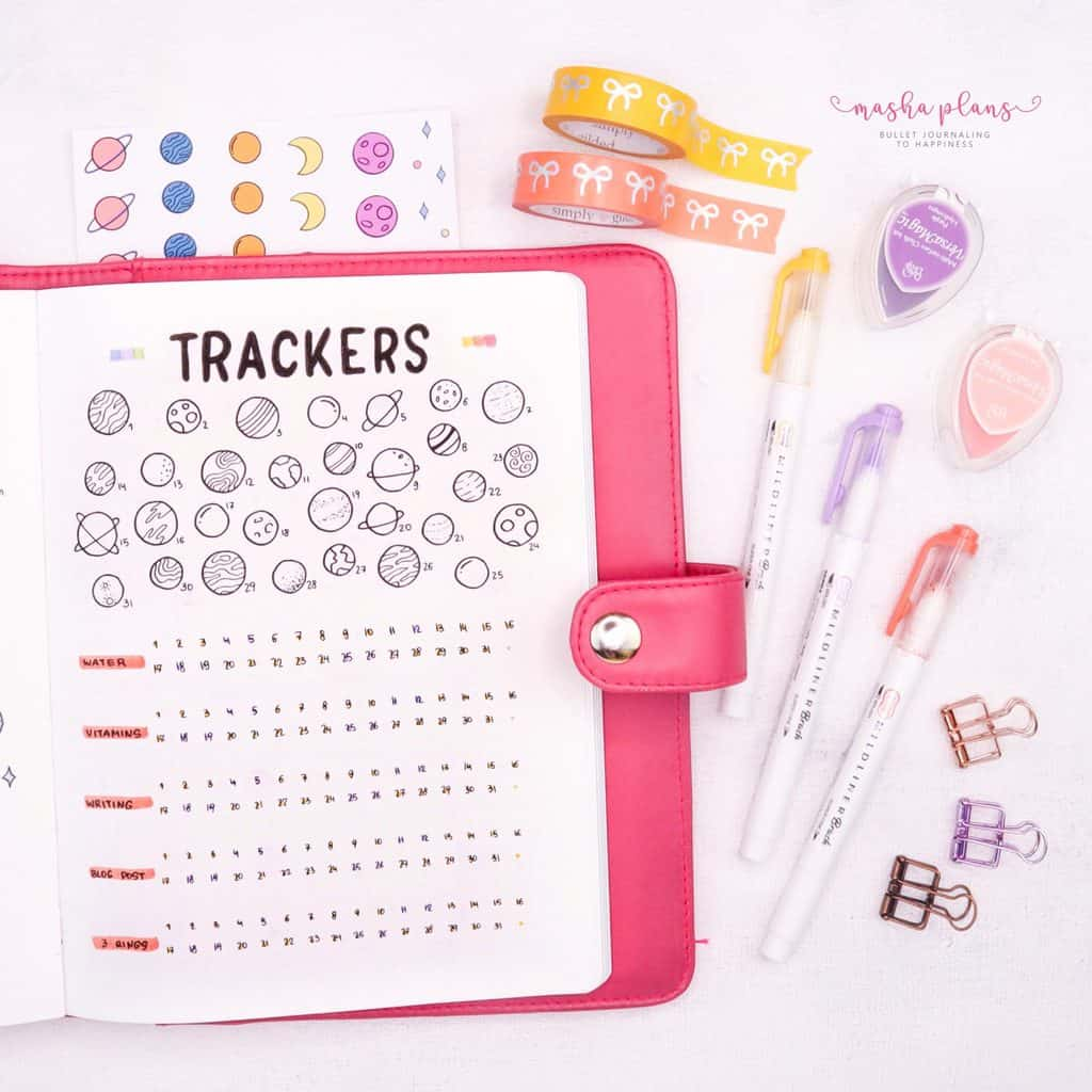 Space Bullet Journal Setup - tracker | Masha Plans