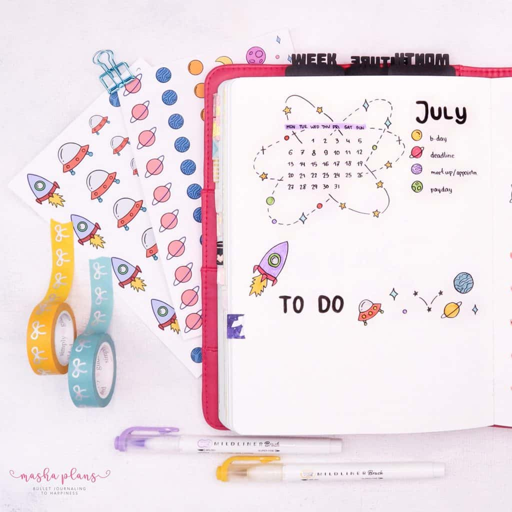 Space Bullet Journal Setup - monthly log | Masha Plans