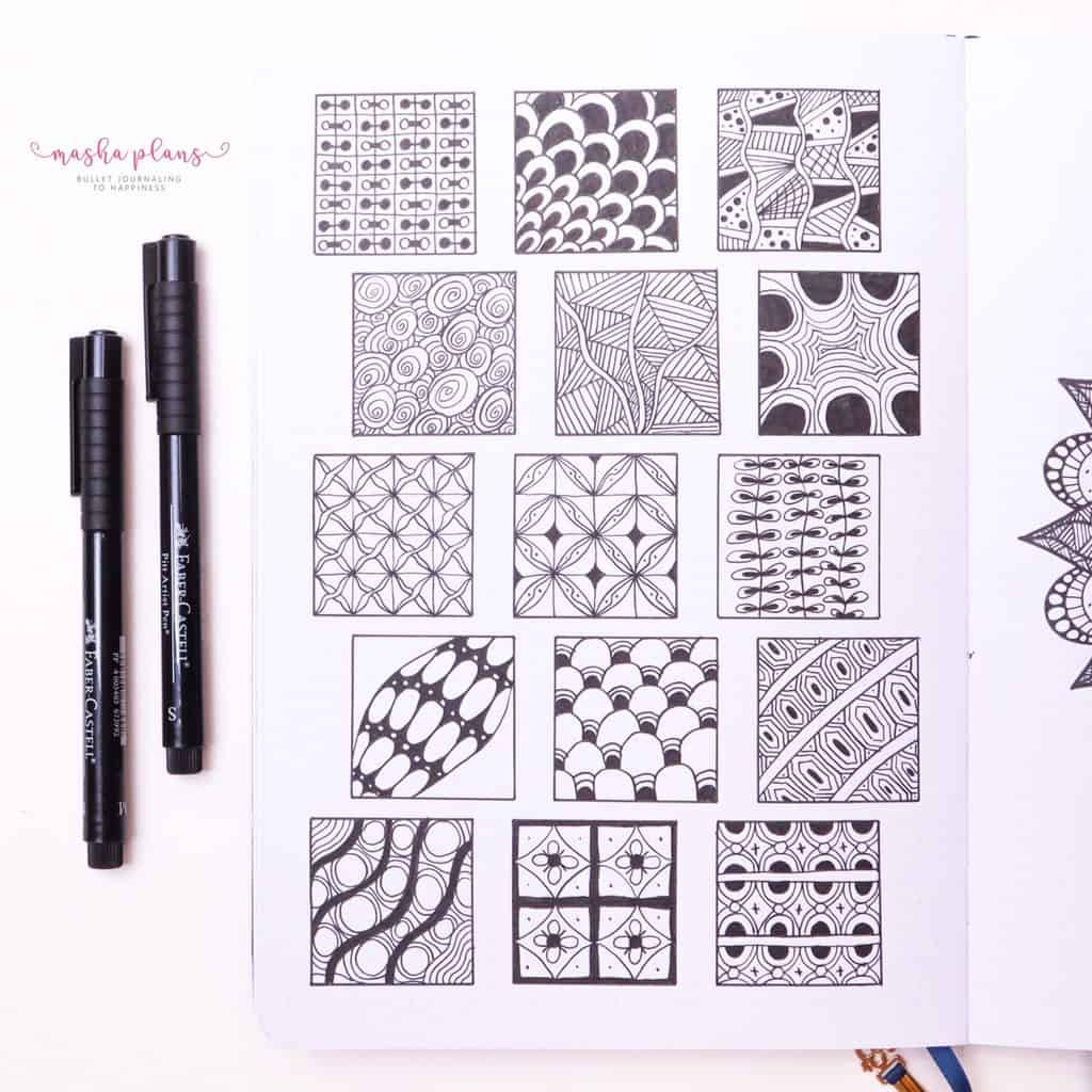 How To Draw & Use Mandalas In Your Bullet Journal - zentangle patterns| Masha Plans