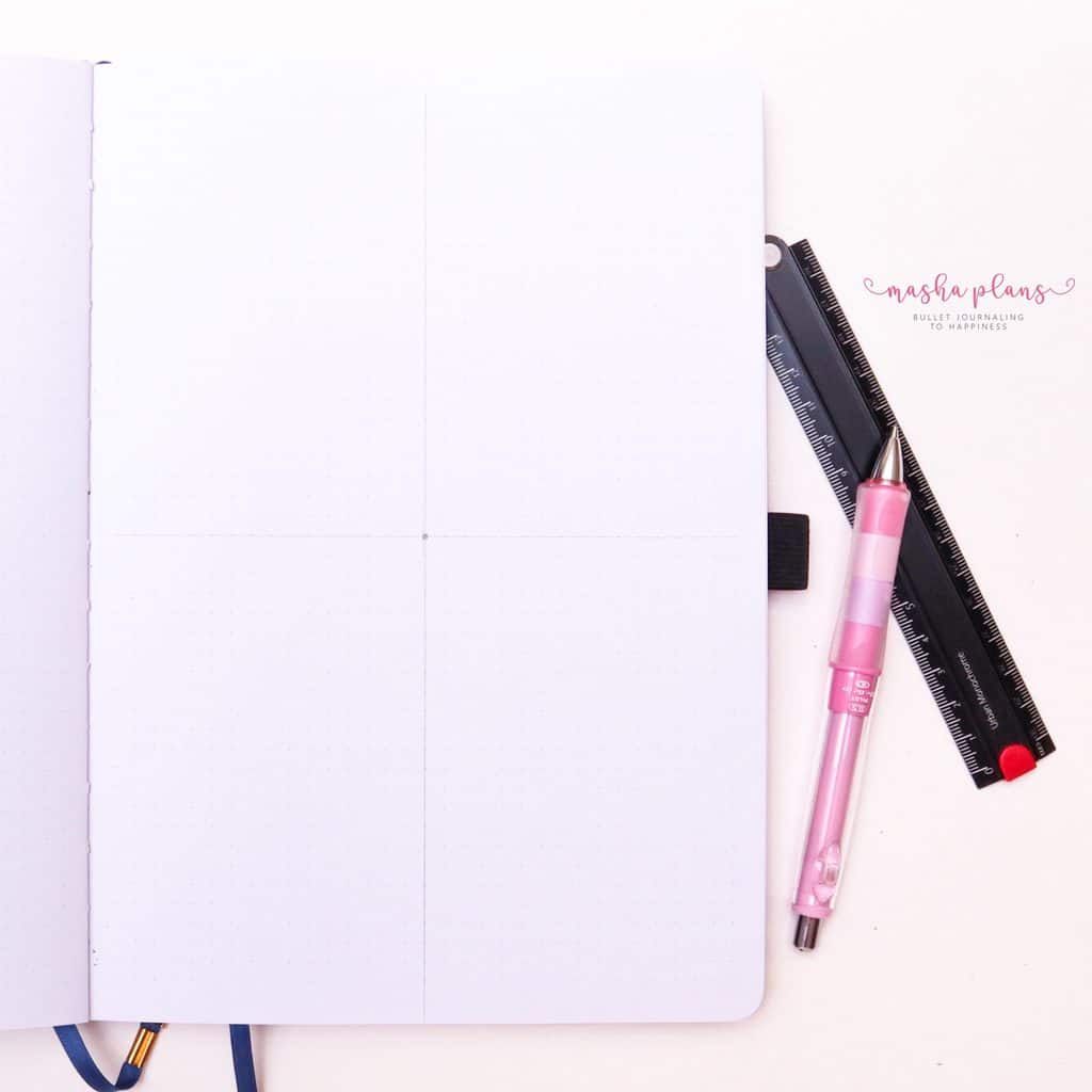 How To Draw & Use Mandalas In Your Bullet Journal - step 2 draw two lines| Masha Plans
