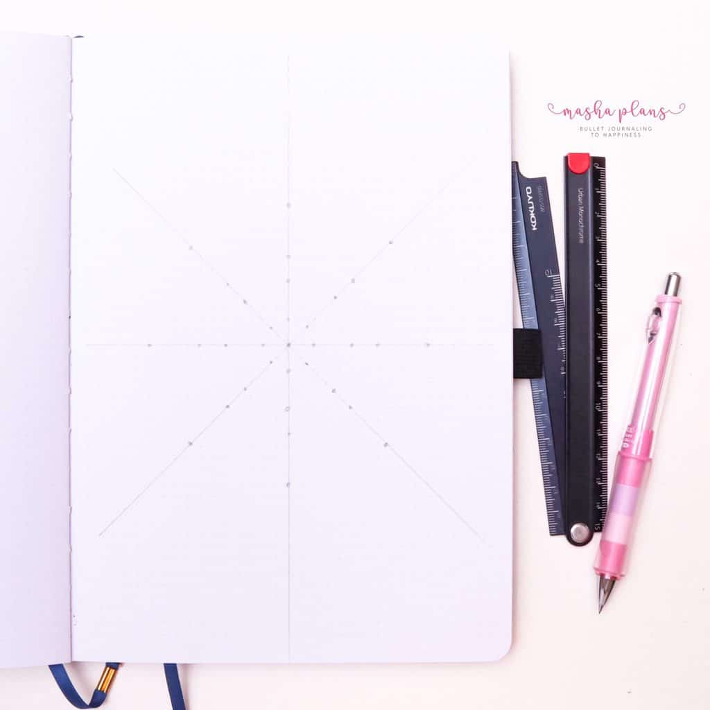 How To Draw & Use Mandalas In Your Bullet Journal - step 4 add lines| Masha Plans