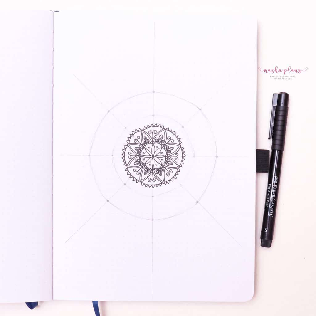 How To Draw & Use Mandalas In Your Bullet Journal - add more layers | Masha Plans