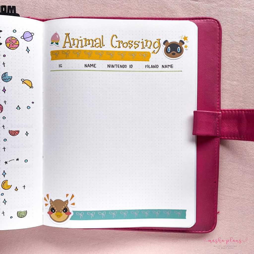 Bullet Journal Setup - animal crossing friends list | Masha Plans