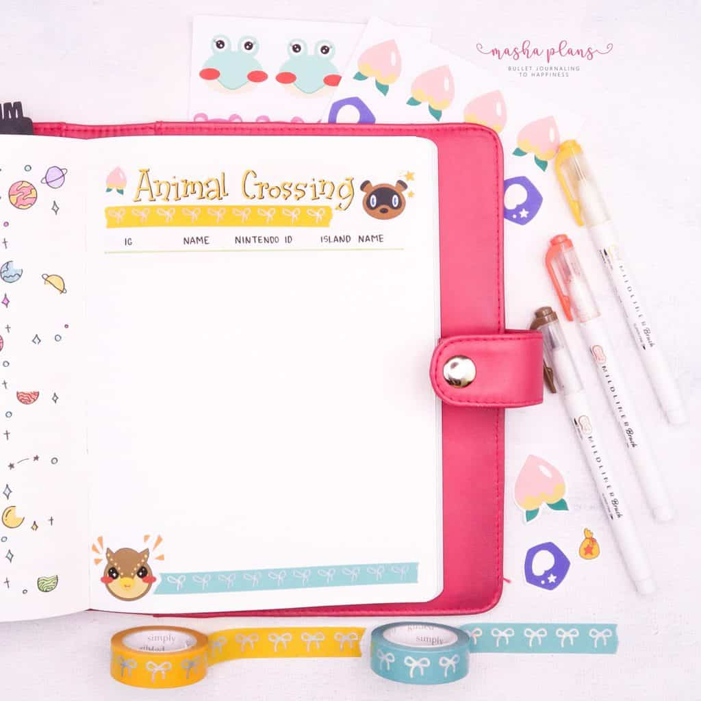 Space Bullet Journal Setup - animal crossing tracker | Masha Plans