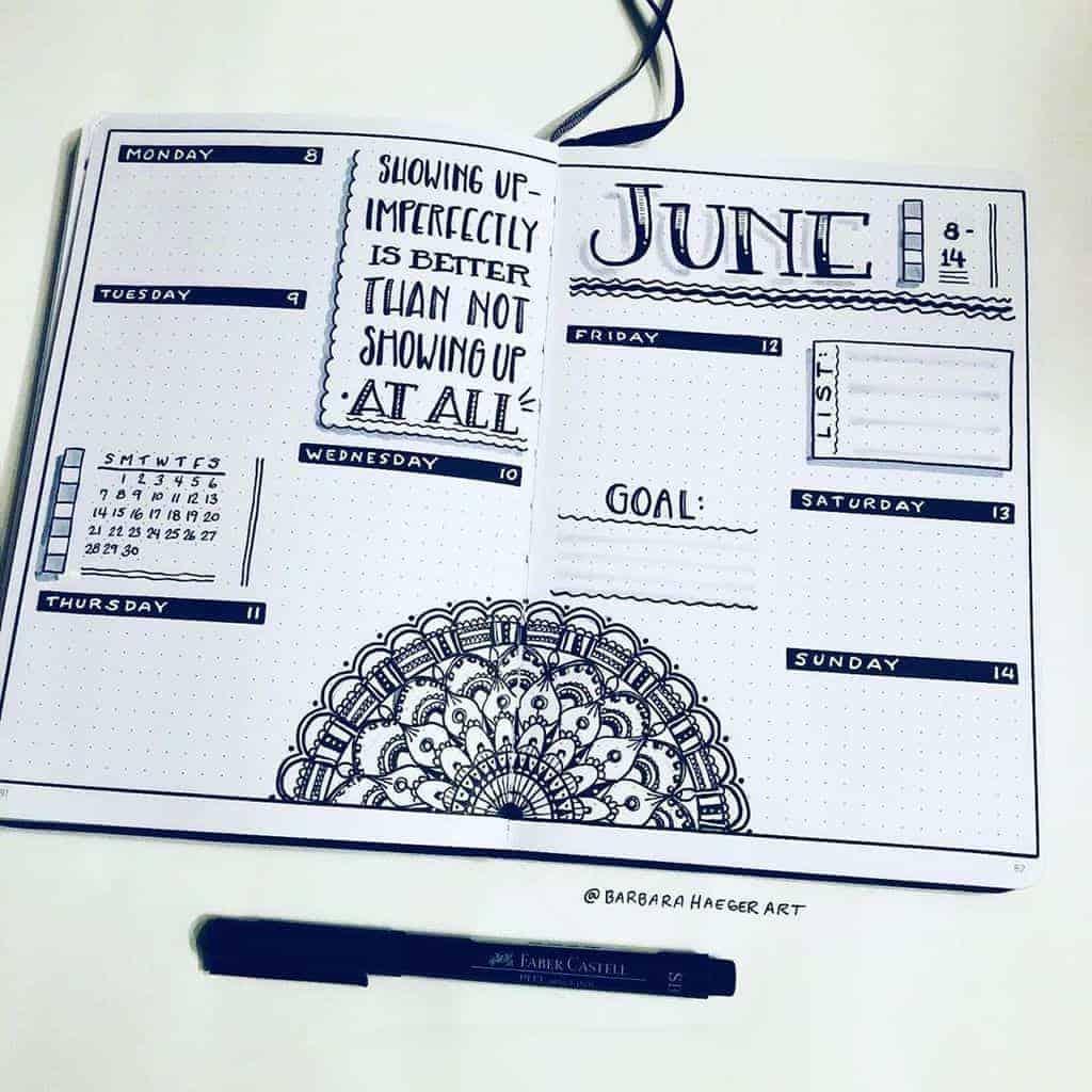 Mandala Bullet Journal Monthly Log by @barbarahaegerart | Masha Plans