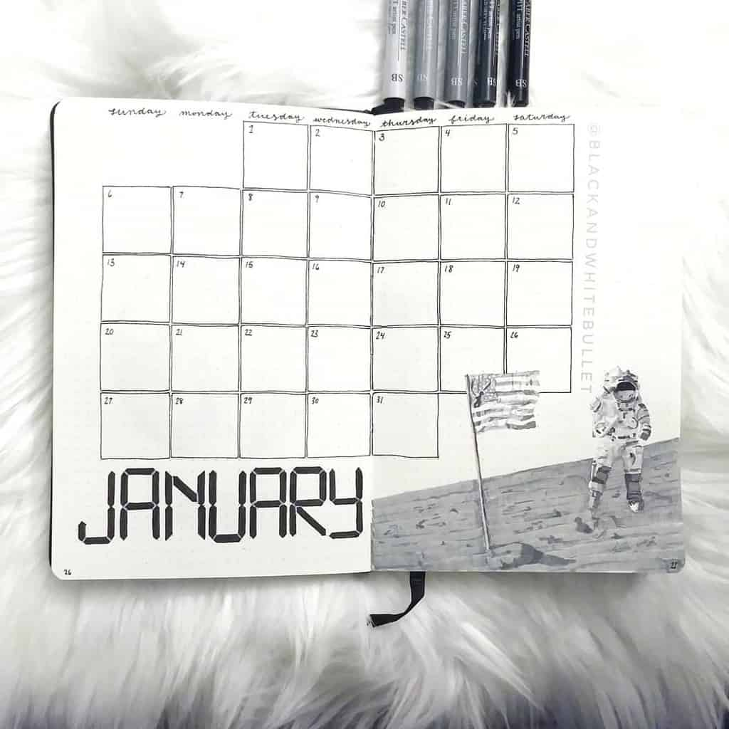 Space and Galaxy Bullet Journal Theme Inspirations - monthly log by @blackandwhitebullet | Masha Plans