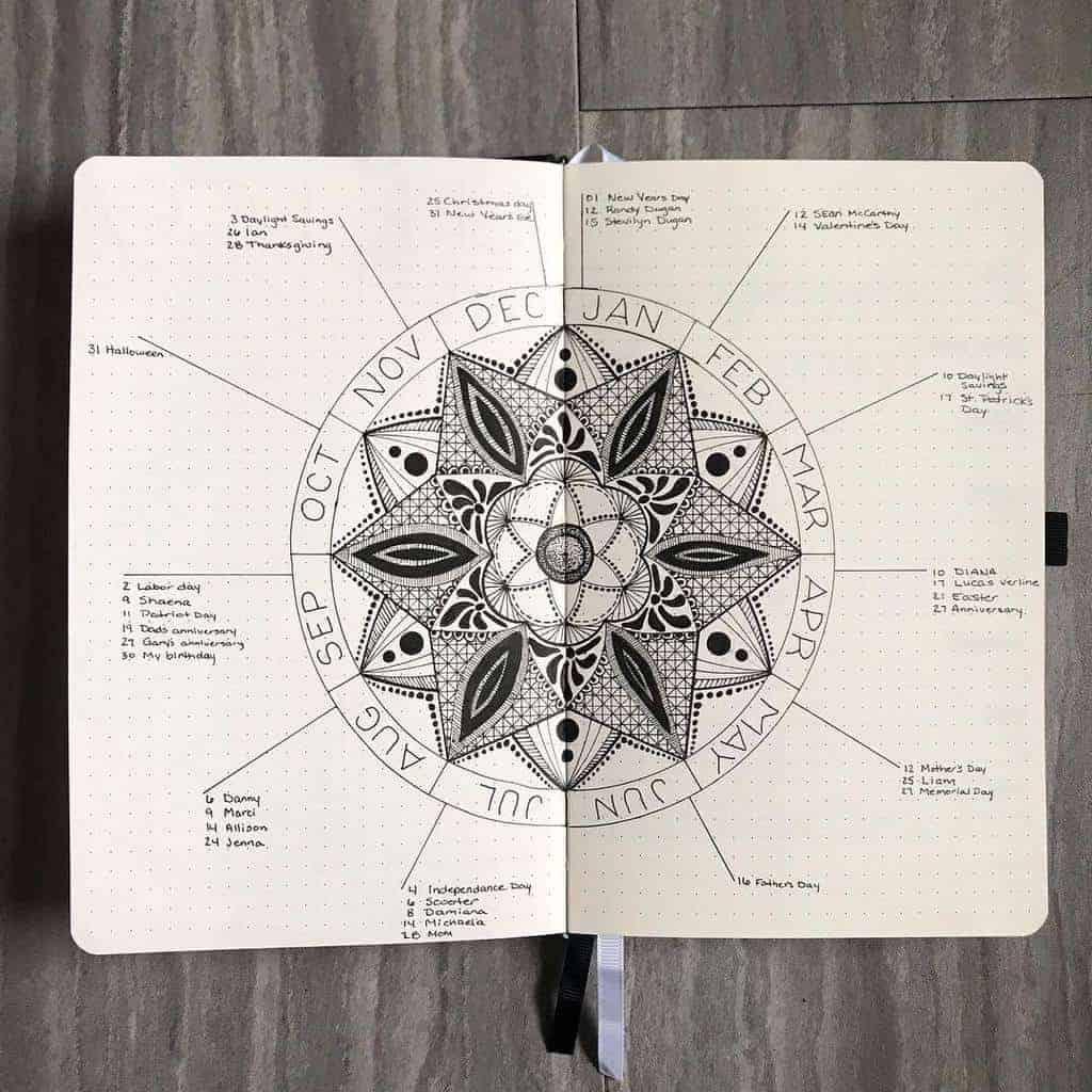 Mandala Bullet Journal Birthday Tracker by @bookofbujo | Masha Plans