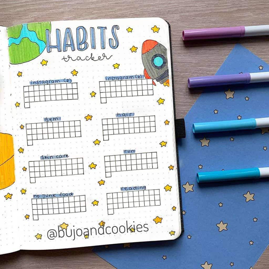 Space and Galaxy Bullet Journal Theme Inspirations - habit tracker by @bujoandcookies | Masha Plans