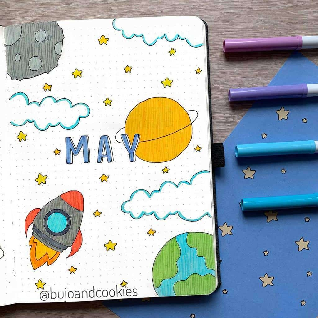 Space and Galaxy Bullet Journal Theme Inspirations - cover page by @bujoandcookies | Masha Plans