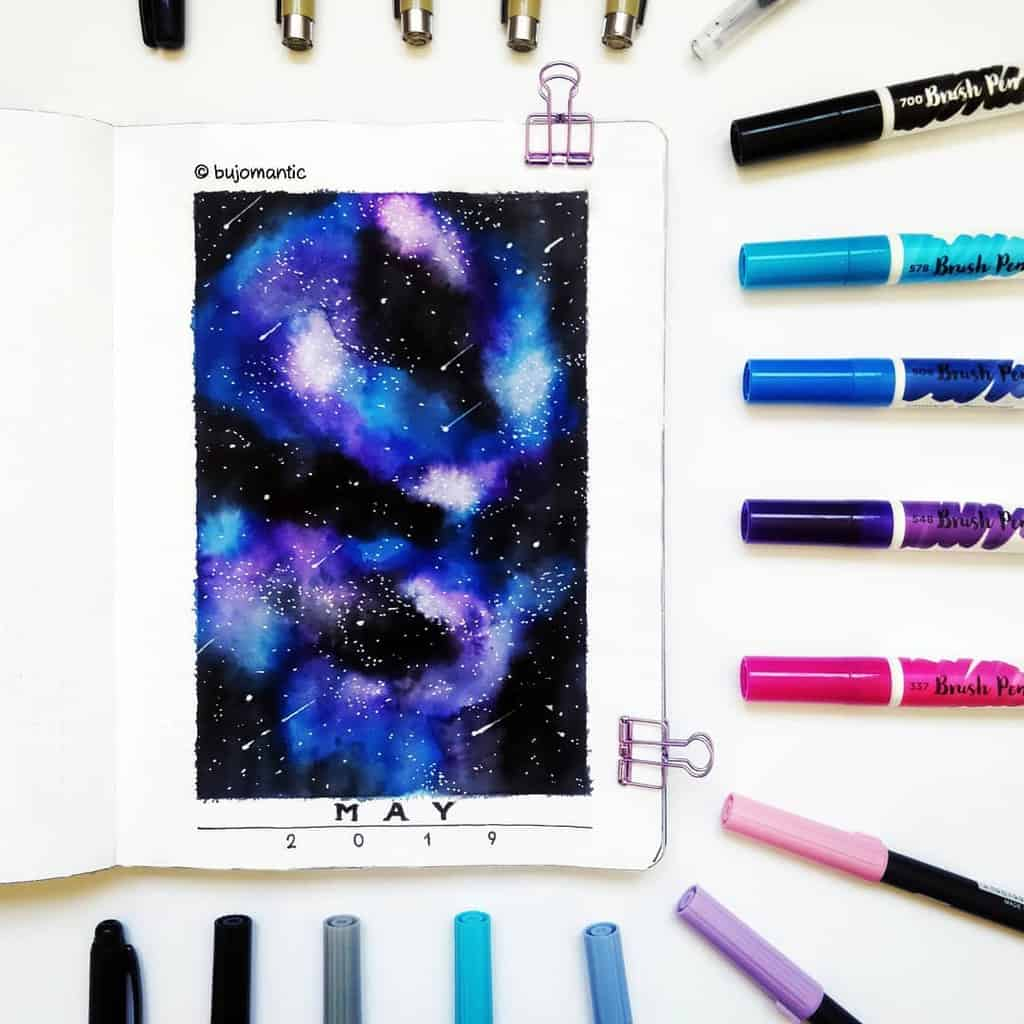 Space and Galaxy Bullet Journal Theme Inspirations - cover page by @bujomantic | Masha Plans