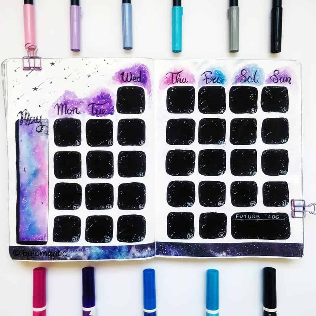 Space and Galaxy Bullet Journal Theme Inspirations - monthly log by @bujomantic | Masha Plans