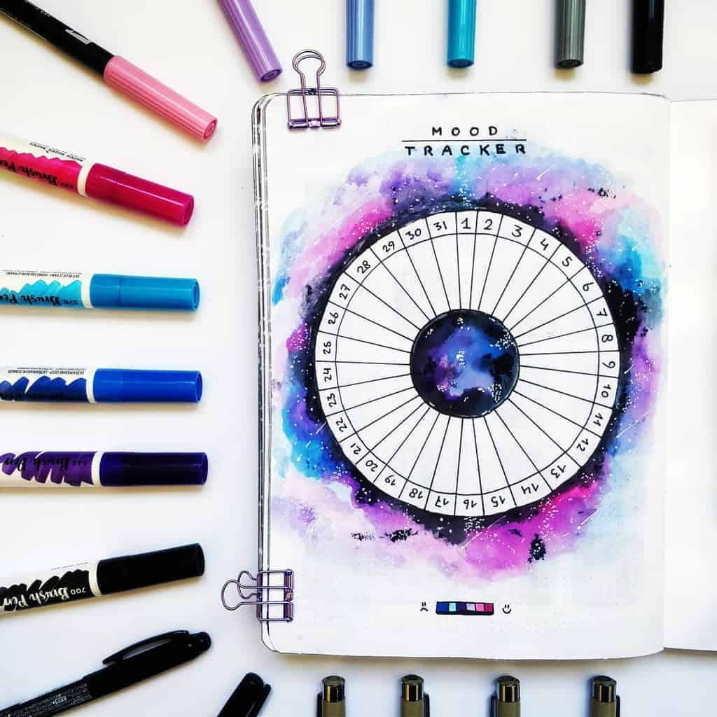 Space and Galaxy Bullet Journal Theme Inspirations - tracker by @bujomantic | Masha Plans