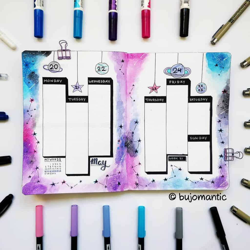 Space and Galaxy Bullet Journal Theme Inspirations - weekly spread by @bujomantic | Masha Plans