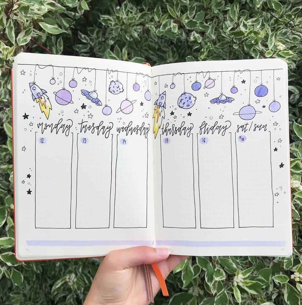 Space and Galaxy Bullet Journal Theme Inspirations - weekly spread by @bulletwithe | Masha Plans