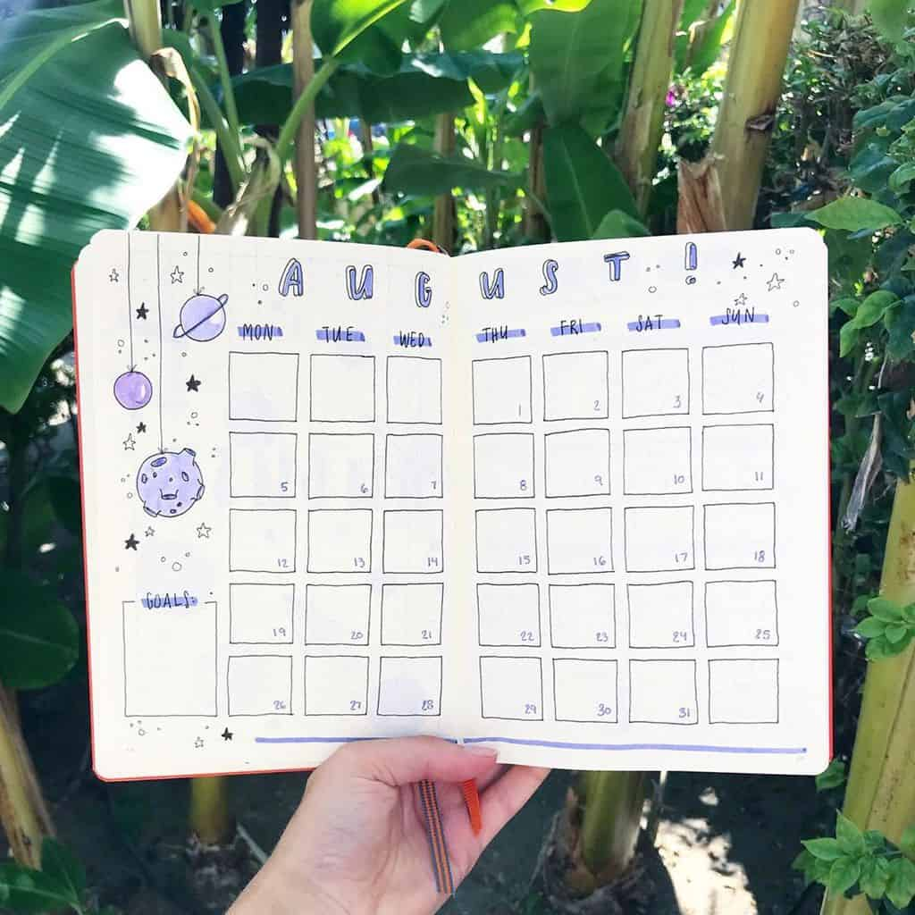 Space and Galaxy Bullet Journal Theme Inspirations - monthly log by @bulletwithe | Masha Plans